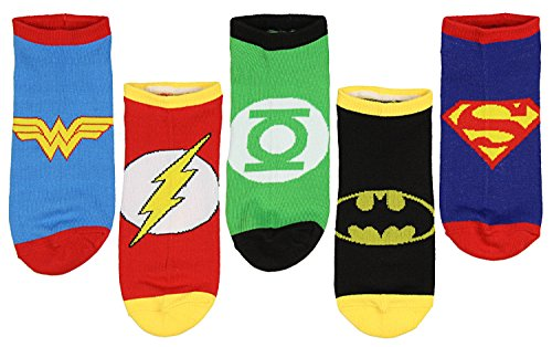 DC Comics Justice League Logos Adult 5 Pack Superhero Ankle No-Show Socks