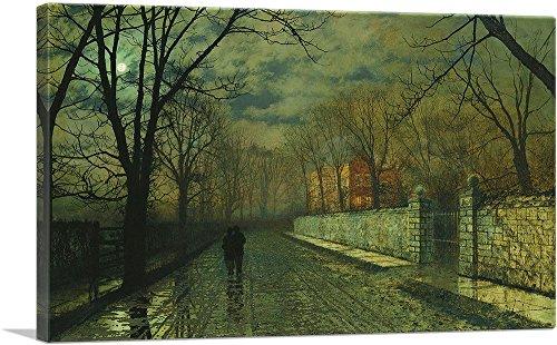 - ARTCANVAS Figures in a Moonlit Lane After Rain Canvas Art Print by John Atkinson Grimshaw- 40