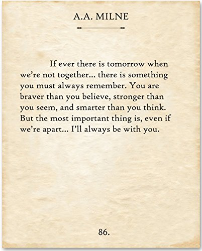 A.A. Milne - If There Ever Is Tomorrow. - 11x14 Unframed Typography Book Page Print - Great Gift for Book Lovers by Personalized Signs by Lone Star Art