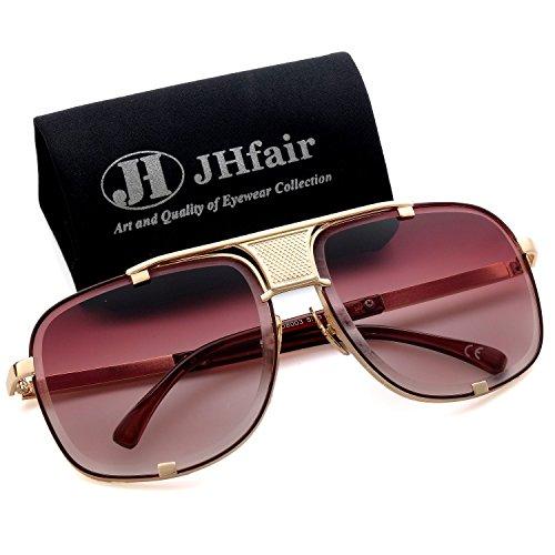 Jhfair Mens Sunglasses Aviator Designer large Square Retro Fashion (Fashion Aviator Shades Sunglasses)