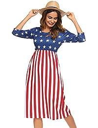 Women's 3 4 Sleeve Stripe Elastic Waist Casual Dress Pocket