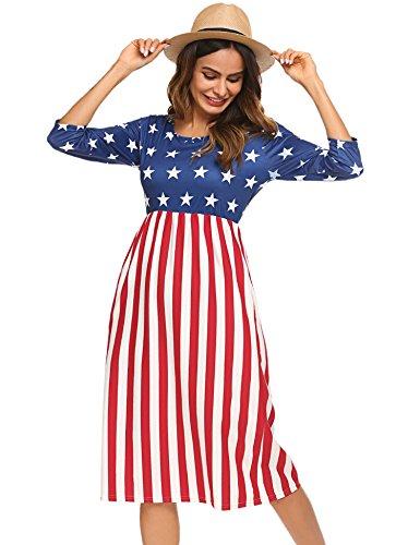 Halife Women's Summer American Flag Beach Dress Star,S