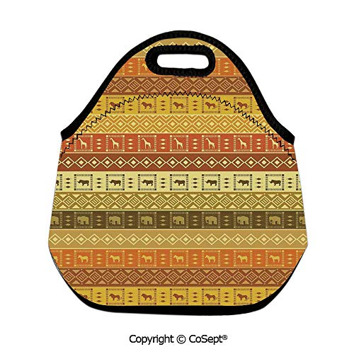 (Waterproof Lunch Bags,Safarisquare Diamond Pattern on Striped Background Native Tribal Artwork,for Women Men Kids Boys Girls(11.81x6.29x11.02 inch))
