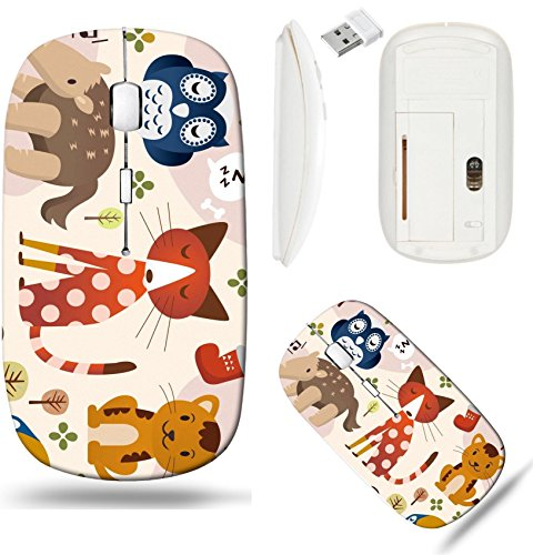 (Liili Wireless Mouse White Base Travel 2.4G Wireless Mice with USB Receiver, Click with 1000 DPI for notebook, pc, laptop, computer, mac book cute animal zoo IMAGE ID 8501564)