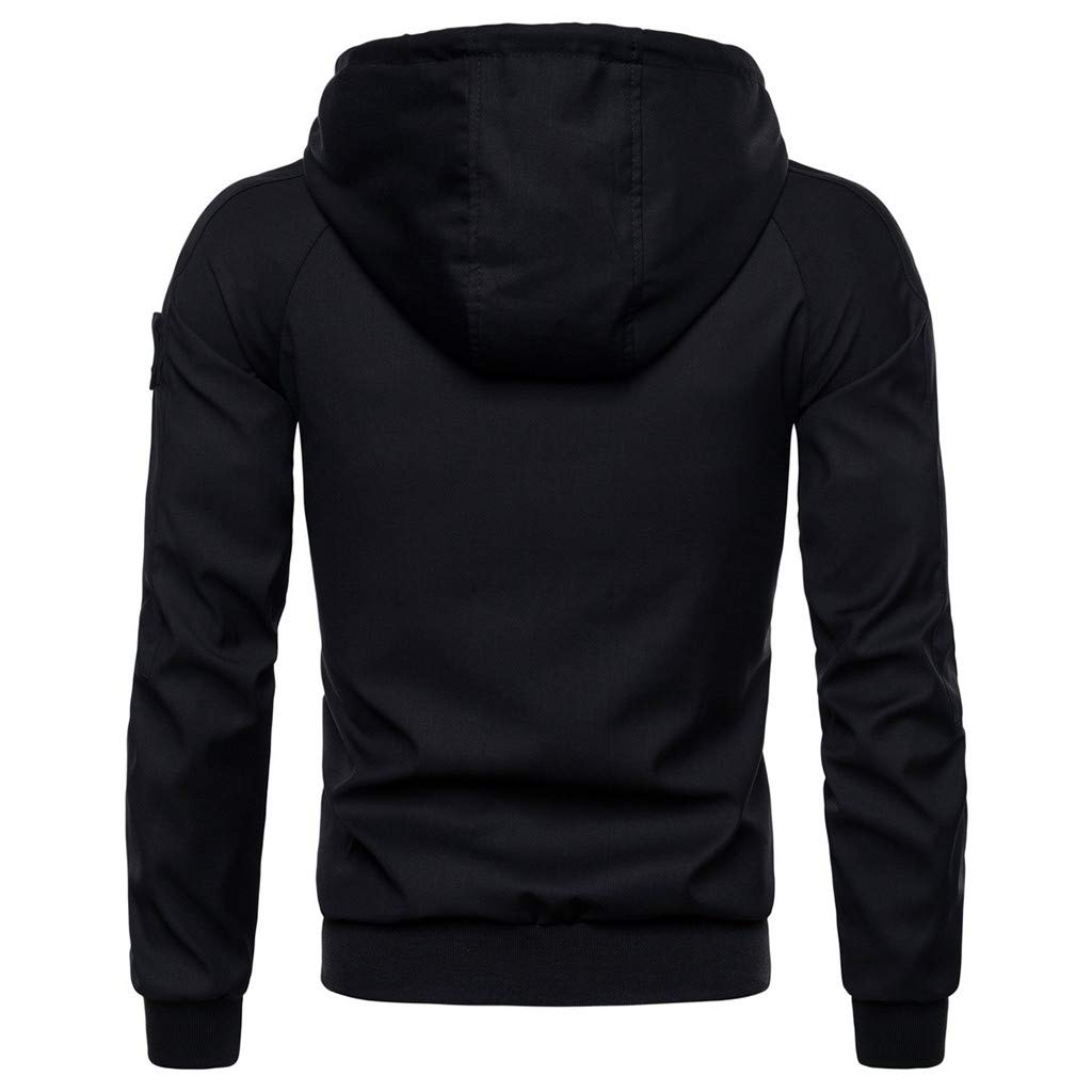 Simayixx Men's Jacket Men's Mountain Waterproof Ski Coats Windproof Rain Hoodie Sweatshirts Workout Zipper Tops Shirts 2XL Black by Simayixx (Image #3)