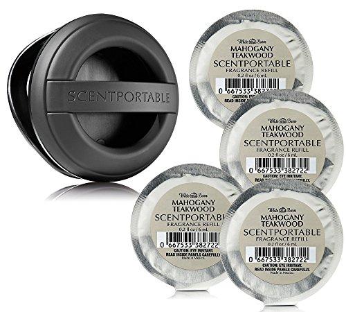 5 Pc Set - Bath & Body Works Scentportable Black Rubber Clip & 4 Mahogany Teakwood Refills by Bath & Body Works
