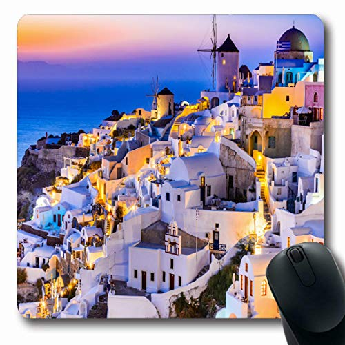 Ahawoso Mousepads for Computers Santorini Church Oia Greece Idyllic Attraction Cupola White Aegean Islands Sea Amazing Design City Oblong Shape 7.9 x 9.5 Inches Non-Slip Oblong Gaming Mouse Pad