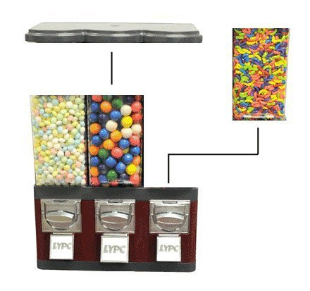 Triple Pod Candy Gumball Vending Machine (Yellow)