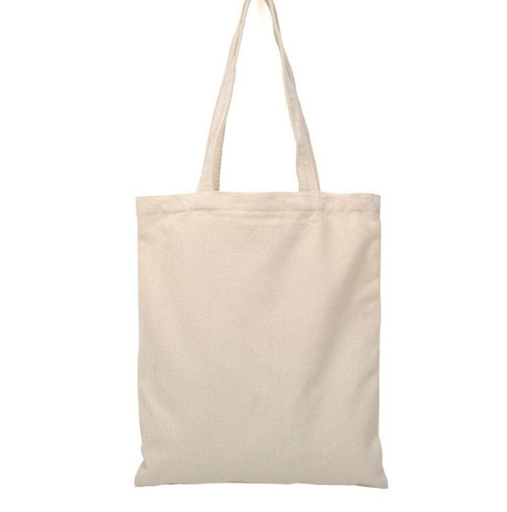 Bolso tote de WeiMay, de lona, color liso, respetuoso con el medio ambiente, reutilizable, para manualidades e ir de compras, de algodón natural, para mujeres y niñas, de 34 x 40 cm