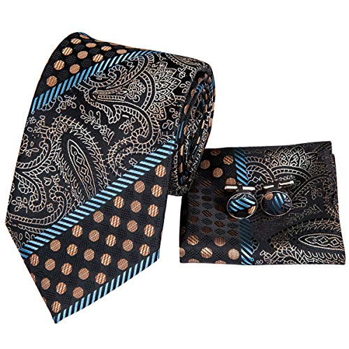 Hi-Tie Men Grey Gold Dots Stripes Tie Handkerchief Necktie with Cufflinks and Pocket Square Tie Set