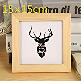 Huhgue Photo Frame Approx.15×15cm Square Photo Frame Wooden Poster Frame for Home Decoration (Wood Color)