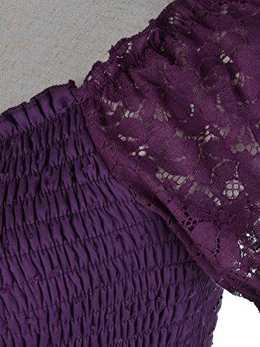 kaci Courtes Femme Anna Cocktail Violet Longue Uni Robe Manches Jupe O6AFvwq