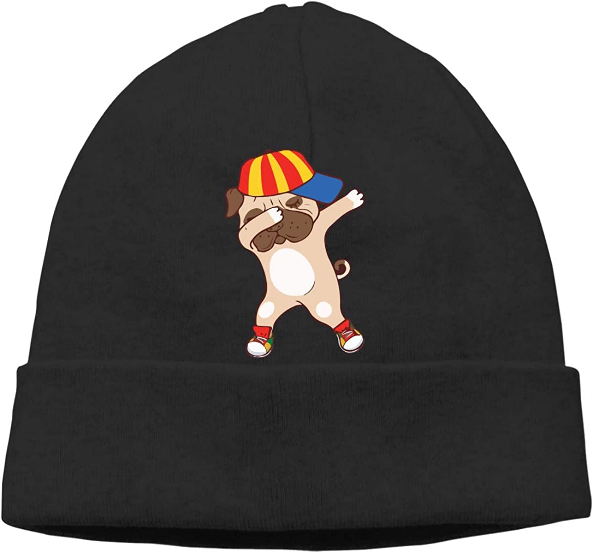 GDSG5/&4 Funny Pug Dabbing Dad Hip Hop Dog Unisex Great Thermal Running Beanie Hats