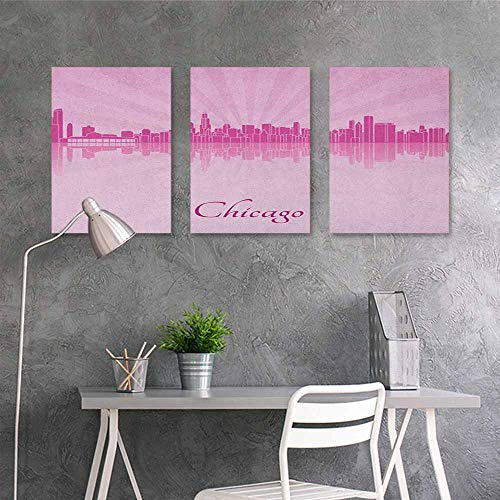 HOMEDD Oil Painting Modern Wall Art Posters Sticker,Chicago Skyline United States Scenery in Soft Tones Urban Downtown Illustration,Office Art Decoration 3 Panels,16x31inchx3pcs Pale Pink Fuchsia -