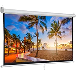 "ZENY 100"" Projector Screen 16:9 HD Projection Manual Pull Down Portable Foldaway Movie Home Theater Projector Movies Screen (100'', 16:9)"