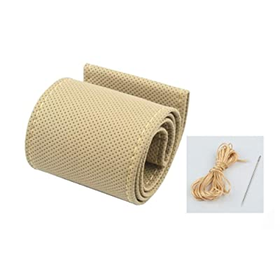 ANTYE Universal 15 inch Microfiber Leather Auto Car Steering Wheel Cover Anti-Slip Stitch On Wrap Hand Sewing with Needle & Thread (Size M, Beige): Automotive