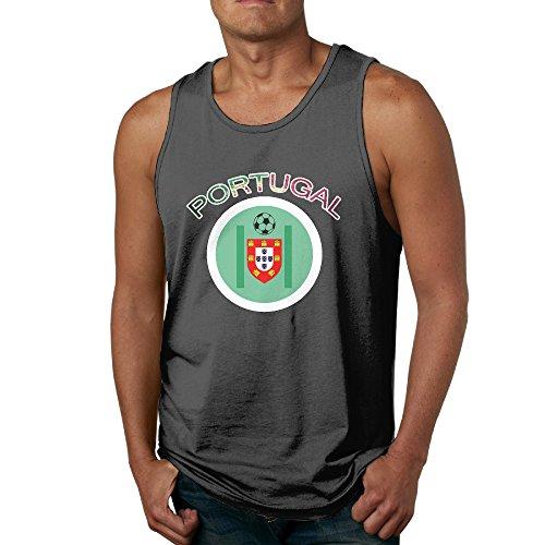 CYANY 2016 PORTUGAL FOOTBALL CHAMP Mens Sleeveless Garment Round Collar Black Tank Top
