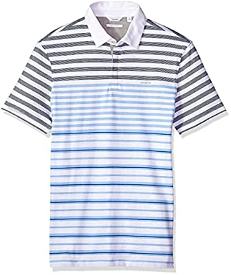 Calvin Klein Men's Short Sleeve Jersey Polo Shirt With Engineered Stripe