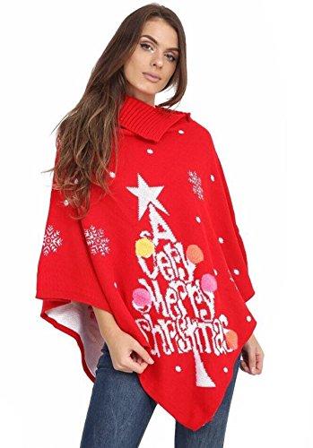 GirlzWalk Women Christmas Snowflake Pom Pom Vintage Poncho 4-22 (Cheap Uk Jumpers Christmas)