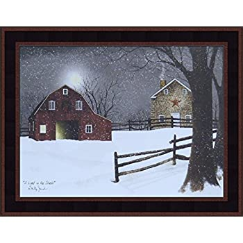 Home Cabin Décor A Light in The Stable by Billy Jacobs 15x19 Red Barn Full Moon Stone House Snow Snowing Winter Christmas Framed Folk Art Print Picture (Country Black Woodtone)