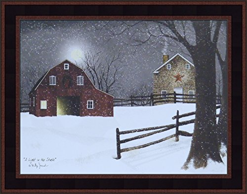 e by Billy Jacobs 15x19 Red Barn Full Moon Stone House Snow Snowing Winter Christmas Framed Folk Art Print Picture (Country Black Woodtone) ()