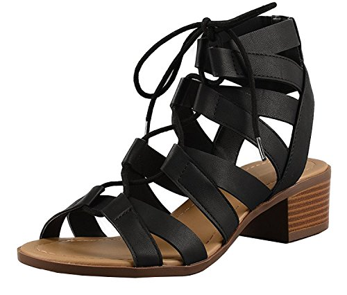 Cambridge Select Women's Open Toe Lace-up Caged Cutout Gladiator Chunky Stacked Block Mid Heel Sandal (5.5 B(M) US, Black PU)