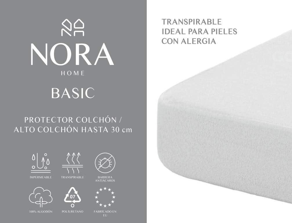 NORA HOME Protector de colchón Impermeable, 100% algodón ...