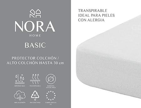 NORA HOME Protector de colchón Impermeable, 100% algodón, Transpirable, hipoalergénico y antiácaros (70 x 140 cm (Cuna)): Amazon.es: Hogar