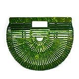 Womens Acrylic Top-Handle Bag Handmade Handbag Ark Clutch Purse Bigger Size (Green)