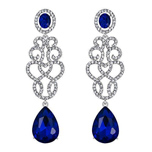 BriLove Wedding Bridal Dangle Earrings for Women Crystal Floral Filigree Teardrop Chandelier Earrings Royal Blue Sapphire Color Silver-Tone ()