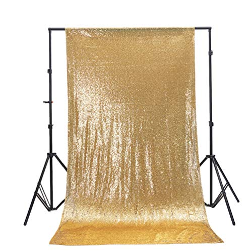 TRLYC 2FT by 8FT Christmas Sparkly Gold Sequin Window Curtain Backdrop for Wedding Party (Curtains Panels 2 Gold)