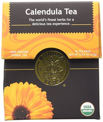 Organic Calendula Flower Tea - Kosher, Caffeine-Free, GMO-Free - 18 Bleach-Free Tea Bags by Buddha Teas