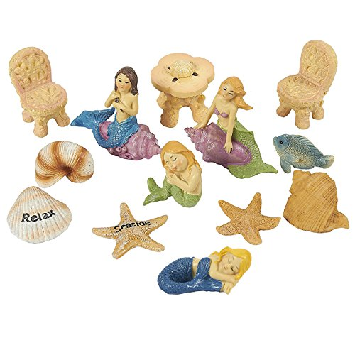 Fairy Garden Kit – 13 Piece Mermaids Miniature Figurines with Accessories, Garden Ornaments for Outdoor, Lawn, and Home Decoration
