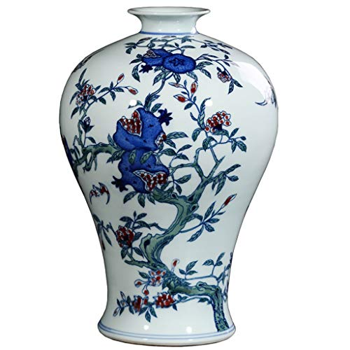 - Vases LQX Ceramic Antique Hand-Painted Blue-and-White Glaze Red Plum Bottle Living Room Porch Laugh Mouth Often Open Decorative Ornaments