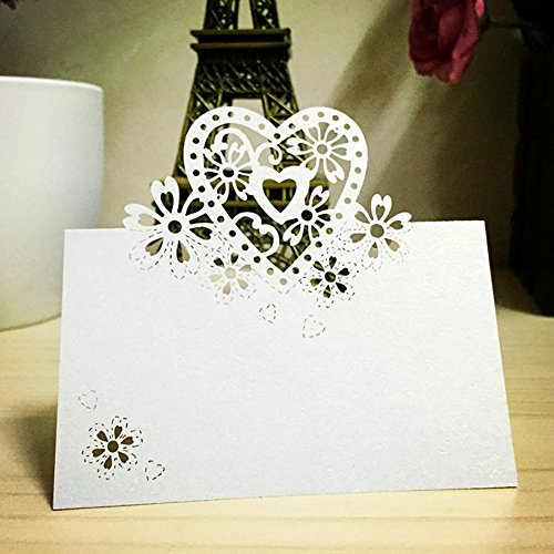 [Favor Cards (50 pcs) PAMISO Laser Cut Table Name Place Cards-wedding Party Decoration (Love Heart)] (Laser Cut Note Cards)