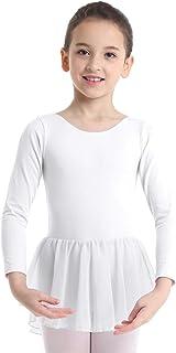 YiZYiF Mädchen Ballettkleid Ballettbody Balletttrikot mit Chiffonrock Langarm Tanzkleid Ballettanzug
