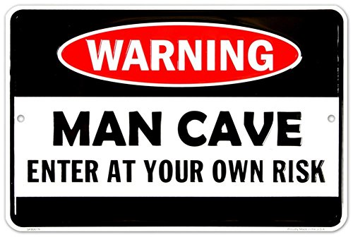 Cave Man Sign (Man Cave Enter At Your Own Risk Metal Door Sign)