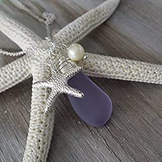 """product image for Handmade in Hawaii,""""Magical Color Changing"""" purple sea glass necklace,Freshwater pearl, starfish charm, February Birthstone, (Hawaii Gift Wrapped"""