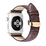iStrap Alligator Grain Calf Leather Watch Band fit Apple iWatch 42mm Model Rose Gold Deployment Clasp