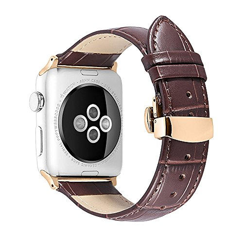 iStrap Alligator Grain Calf Leather Compatible/Replacement for Apple Watch Band Strap iWatch Series4 3 2 1 Edition Sport 38mm 42mm 40mm 44mm