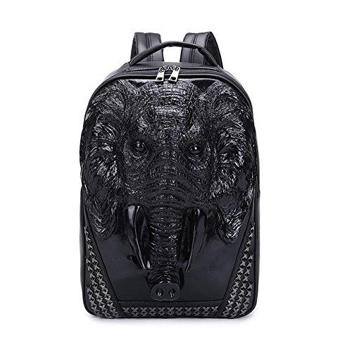 Mery Wa Unisex 3D Elephant Print Backpack PU Leather Rucksack Shoulder College Laptop Bag,Black