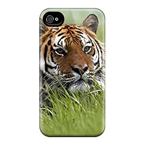 New Style Mialisabblake Hard Case Cover For Iphone 4/4s- Tiger In The Grass