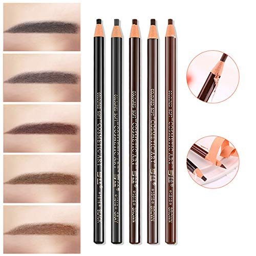 SKYMORE Waterproof Eyebrow Pencils - 12 Piece Peel-Off Brow Pencil Set For Marking, Filling And Outlining, Tattoo Makeup And Microblading Supplies Kit-Permanent Eye Brow Liners In 5 Colors