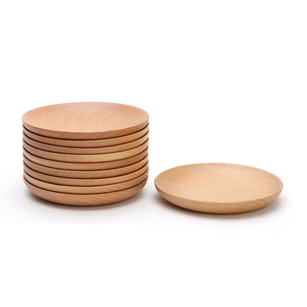 xdobo Natural Beech Wood Serving Dishes - Handmade Mini Dessert Plates - Safe and Eco-Friendly - Pack of 6 (6) FBA_DPL-2