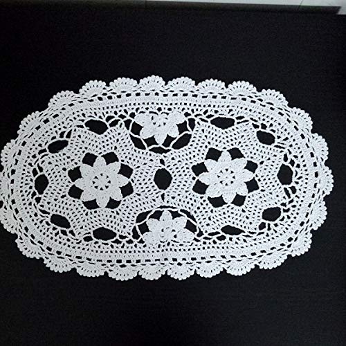 (Laivigo New Handmade Crochet Lace Oval Table Placemat Doilies Doily,12 x 20 Inch,White,2pcs)