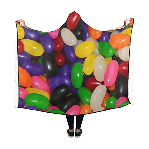WUTMVING Hooded Blanket Jelly Beans Candy Sugar Sweets Green