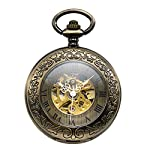 Treeweto Steampunk Skeleton Mechanical Copper Fob Retro Pocket Watch 6