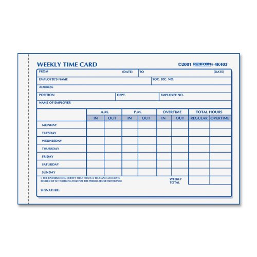 Rediform Weekly Employee Time Card (REDIFORM Time Card Pad, Weekly, Manila, 4.25 x 6
