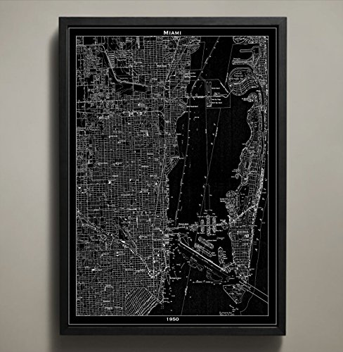 (Miami Map Print, Home or office Decor)