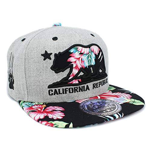 LAFSQ Embroidered California Republic Bear Hawaiian Flower Printed Snapback Baseball Hat (Grey/Black) ()